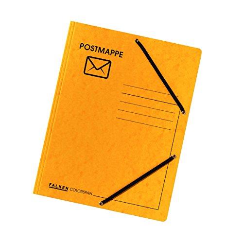 Falken Postmappe aus extra starkem Colorspan-Karton mit 3 Innenklappen DIN A4 mit 2 Gummizügen gelb Juris-Mappe Sammelmappe Dokumentenmappe der Klassiker für das Büro und die Schule