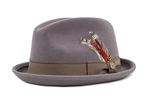 Brixton GAIN Fedora Headwear, Grey/Gold, XL