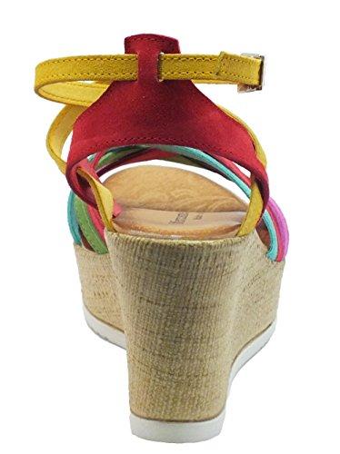 Sandali Mercante di Fiori donna in nabuk multicolore zeppa effetto tela Multicolor