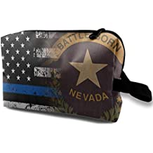 Nevada Thin Blue Line Flag Art Small Cosmetic Bags Travel Makeup Bag Fashionable Organizer For Women