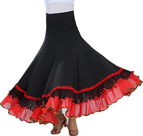 Kostüm Tänzer Ballsaal (Lange Swing Kleid Modern Walzer Tango Spitze die Röcke Standard Ballsaal)