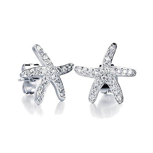 Crystals from Swarovski Bianco Stelle Marine Orecchini a lobo 18 kt placcato oro bianco per donne e ragazze