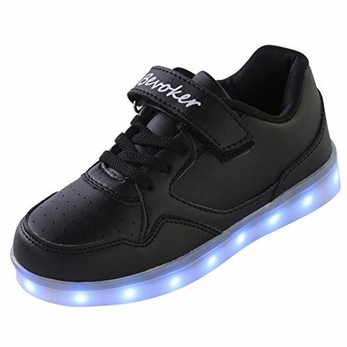 bevoker Lumineuses Chaussures Filles Garçons 7 Couleurs USB Recharge basket led enfant