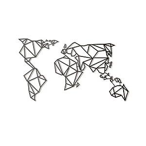 Hoagard Metal World Map Black XL Weltkarte aus Metall Schwarz XL | 80cm x 140cm | Geometrische Metallwandkunst…