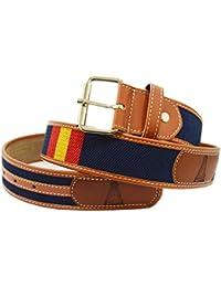 07e76acc5cd ALBERO Cinturón Virgen del Rocio - Azul Marino con Bandera de España -  Virgen grabada en piel en 4 Adornos…
