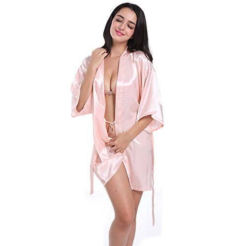 Kobay gli indumenti da notte di seta del kimono corti puri delle donne per la festa nuziale della sposa(rosa,m)
