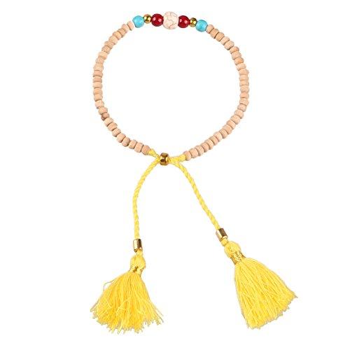 en Männer Beige Holz-Perlen Freundschaftsarmbänder mit Quaste Anhänger - Gelb ()