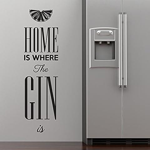 Casa es donde la ginebra es de pared adhesivo por StickerStudio, violeta, Large 155cm x 58cm