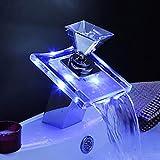 Beleuchteter Glas LED Wasserhahn Bad Wasserfall Waschtisch Armatur Edel