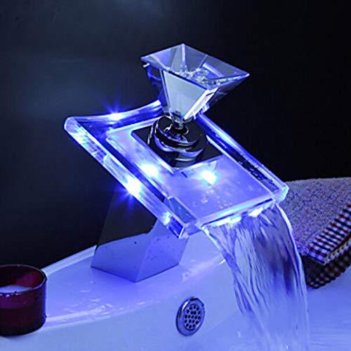 Beleuchteter Glas LED Wasserhahn Bad Wasserfall Waschtisch Armatur Edel -
