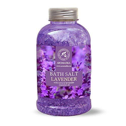 Badesalz Lavendel 600g - Meersalz mit 100{ab2d05120c771e1ca7085b9e4bfc934a83dfea72425f26a12d195790ff851e59} Natürlichem Ätherischen Lavendelöl - Besten für Guten Schlaf - Stressabbau - Baden - Körperpflege - Wellness - Schönheit - Entspannung - Spa - von Aromatika