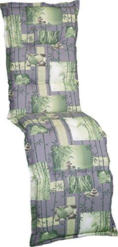 Gartenstuhlauflage Sitzkissen Polster Stuhlkissen für Relaxstuhl in grün Grau mit Bambus und...