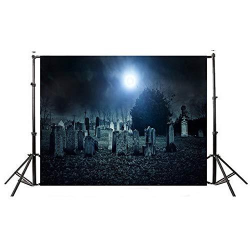 nd Schwarze Katzen-Mond-Kürbis Kiefer Halloween-Hintergrund-Tuch ()