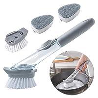 Andiker Liquid Soap Dispensing Washing-up Brush, Long Handle Dish Brush with 2 Sponge and Bristle Brush Replacement Heads Grey