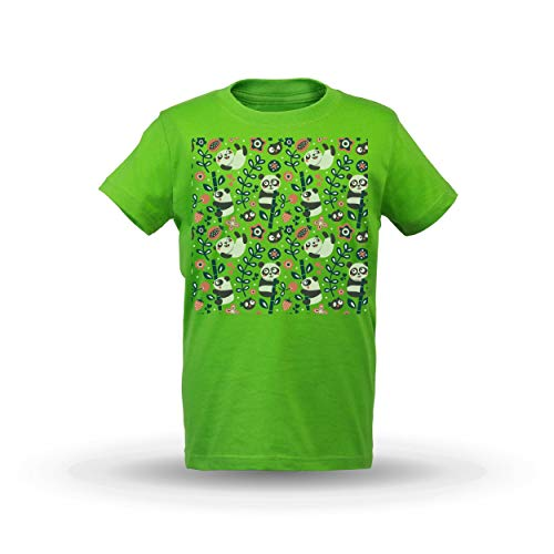 77e2ef001d052 KrisTalas niños Camiseta de Las niñas Panda T-Shirt Cute Panda Happy Panda  Bamboo Animal T-Shirt Panda Lover tee Flowers Berries Birds Verde ...