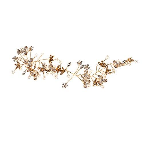 MagiDeal Fleur Headband Bandeau Fantaisie de Cheveux Incrusté de Strass Brillant pour Mariage - Or