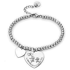 Idea Regalo - Beloved ❤️ Bracciale da donna, braccialetto in acciaio emozionale - frasi, pensieri, parole con charms - ciondolo pendente - misura regolabile - incisione - argento - tema famiglia (MF2)