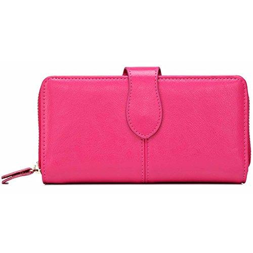 Donne Portafoglio,YOBOKO lusso raccoglitore del cuoio genuino delle donne con la chiusura lampo Pocket Rose