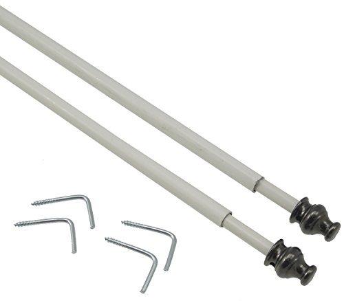 10 astine tonde estensibili da cm 40 a cm 60 per tendine a vetro.