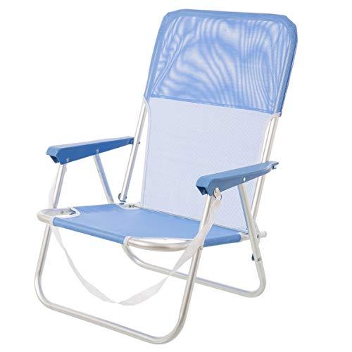 Lola Home Chaise Pliante de Plage Pop en Aluminium Bleu Garden