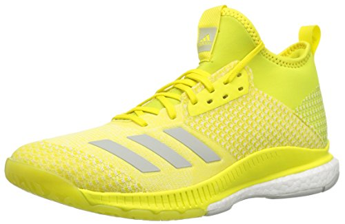 adidas Women's Crazyflight X 2 Mid Volleyball Shoe, Shock Yellow/Ash Silver/White, 13 M US