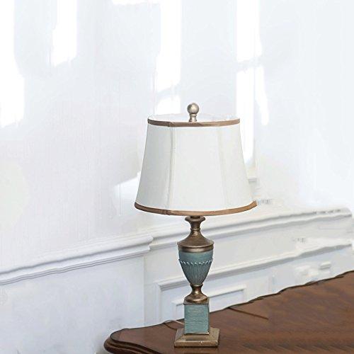 LEGELY Retro bemalte Tischlampe, Amerikanisch rustikal Schreibtischlampe, Arbeitszimmer Wohnzimmer Esszimmer Nachttisch Hochzeit Tischlampe, E27, blau und grün (Messing-papier-tischleuchte)