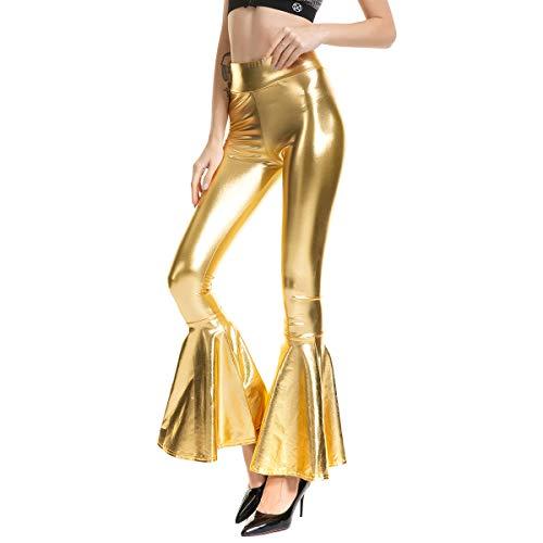 Damen Trompetenhose Schlaghose 70er Retro Kostüm Festlich Abendmode Vintage Bootcut Disco Hose High Waist Elegant Metallic Wet Look Stretch Lange Hose Glamour Show Party Tanzhosen Clubwear Gold S