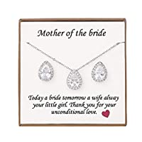 Unijew Mother of The Bride Gift Shiny Zircon Necklace & Stud Earrings or Wedding Jewelry Sets for Brides in Silver Gift for Women