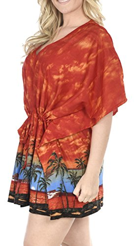 La Leela likre Blick auf den Sonnenuntergang alle in 1 kurzer Abnutzung beiläufiges Badeanzug Tunika Zugbänder Paisley Bademoden szie dehnbar Kaftan Strand-Party Pool Damen kurze Bikini-Vertuschung Orange