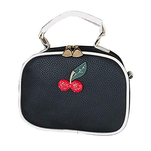 GLOGLOW PU-Leder-Handtasche Frauen Mädchen Platz Umhängetasche Top Griff Cross-Body Bag(Schwarz + Weiß) -