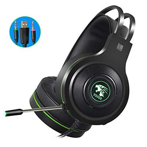 colinsa Gaming Kopfhörer 7.1 Surround Sound, Headset PS4 Gaming, Stereo Bass mit LED-Lampe, Helligkeit, guter Geräuschschutz, kompatibel für PC Xbox One Laptop Tablet