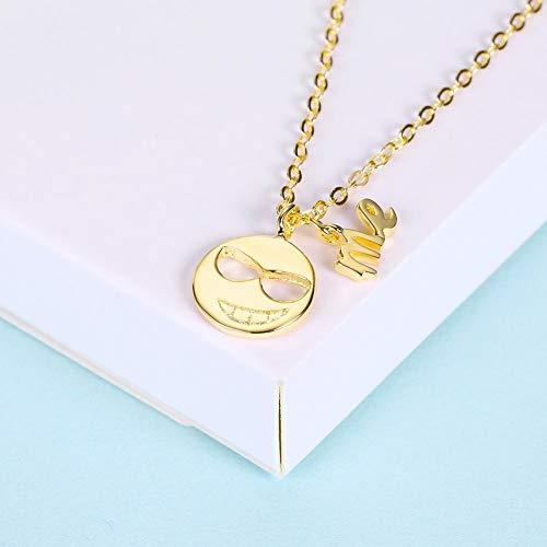 LOVEYOU Sterling Silber Halskette Runde Sonnenbrille Frech Anhänger Sterling Silber Mode Halskette (Color : Gold)