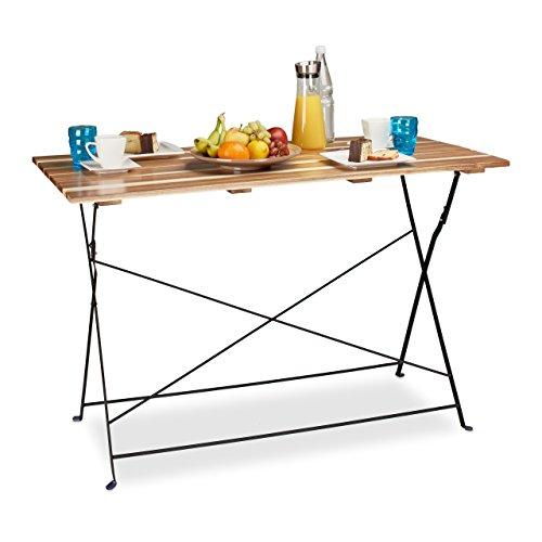 Relaxdays tavolo giardino, balcone, grande, legno naturale, pieghevole, hxlxp 75x120x60 cm, tonalità marrone chiaro