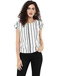 4d653b6a30f 109 F Women Polyester White Printed Top with Cap Sleeves