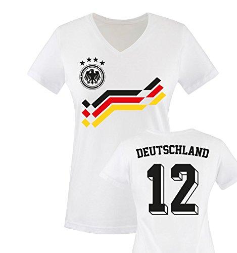 EM 2016 - RETRO-TRIKOT - DEUTSCHLAND - 12 - Damen V-Neck T-Shirt - Weiss / Schwarz-Rot-Gelb Gr. M