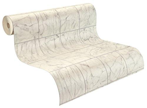 Rasch Tapeten 899429 Rasch Relief-Tapete auf Papier, Fliesen-Optik, Fototapete Tiles & More XIII, Grau (Papier Fliesen)