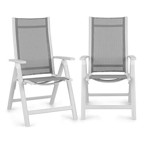 blumfeldt Cádiz Garden Chair - Gartenstuhl, Klappstuhl, 2-er-Set, 59,5 x 107 x 68 cm, Rückenlehne mit 7 Positionen, luftdurchlässiges & wasserresistentes Textilgewebe, Aluminium, weiß/hellgrau