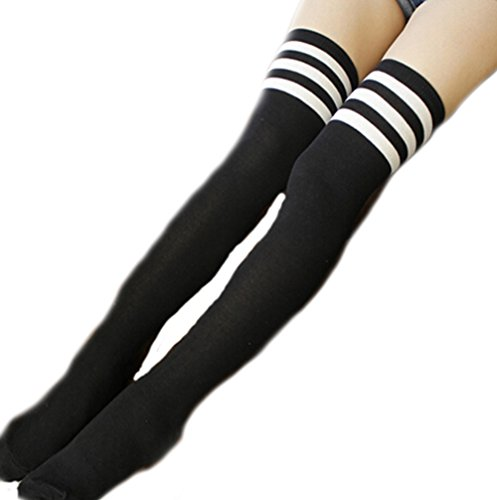 deley-damen-overknee-strumpfe-gestreift-uberknie-kniestrumpfe-madchen-schuler-knitting-stripes-sport