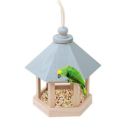Casa per Mangiatoie per Uccelli per Appendere all'Esterno, Voliera in Legno Resistente alle Intemperie per Giardino, Cortile E Arredamento Patio, 5,91 5,91 7,87 Pollici