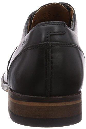 Clarks Exton Oak Herren Derby Schnürhalbschuhe Schwarz (Black Leather)