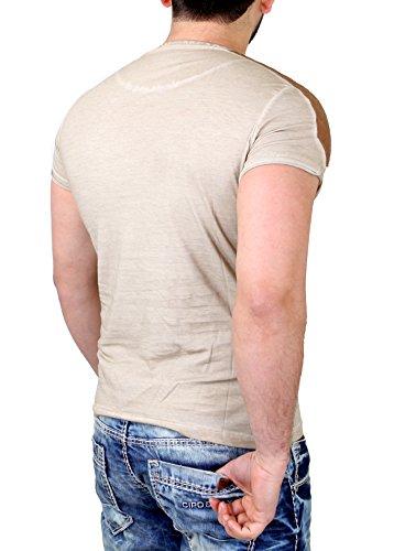 Tazzio T-Shirt Herren Kunst- Lederimitat Patched Buttoned Shirt TZ-15136 Stone