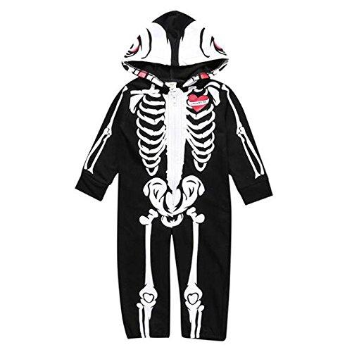 �Monate Baby Jungen Lange Ärmel One Piece Halloween Skelett Hoodie Strampler Body mit Hut Overall Outfit Kleidung, schwarz, 80 (6-12 Months) (Halloween Skelett Outfit)