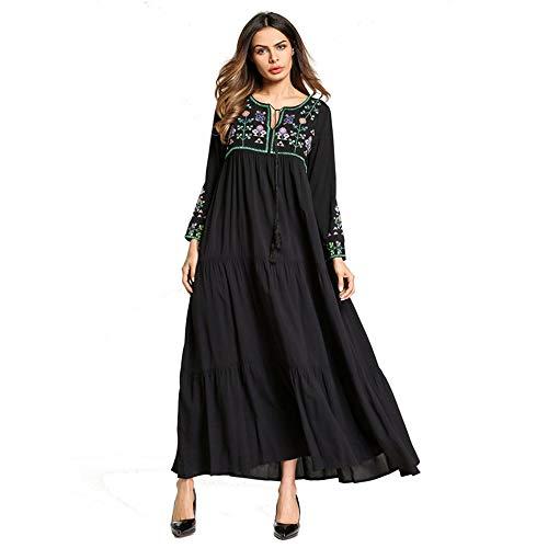 Cvbndfe Bequemes langes Kleid mit Stickerei im arabischen Stil, ethnischer Stil, für Frauen im Nahen Osten, elegant XX-Large