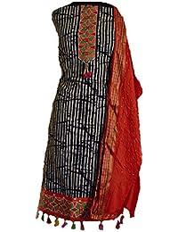 KATHIWALAS Women's Cotton Silk Bandhani Kutchh Work Salwar Suit Material (Batik Orange, Free Size) ...