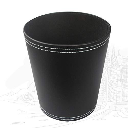 KINGFOM™ Klassisch Leder Papierkorb für Büro/Badezimmer/küche/Schlafzimmer (Schwarz)