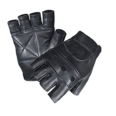 Unisex Men Ladies Fingerless Real Leather Cycling Gym Driving Wheel Chair Gloves