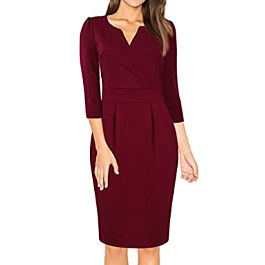 MISSKY Women's V-Neck Work Business Bodycon Pencil Dress