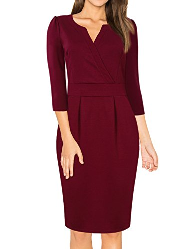 - 41NwRL72zYL - MISSKY Women Vintage V Neck Work Party Bodycon Pencil Dress