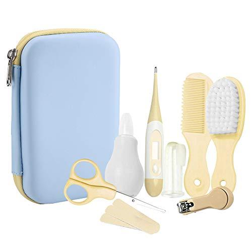 8pcs bébé kit toilettage de soin quotidien pratique kit de toilettage de bébé coupe-ongles ciseaux brosse à cheveux peigne manucure (jaune)