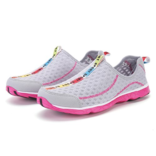 DoGeek Scarpe da Nuoto Water Shoes Scarpe per Sport Acquatici Scarpe Nero Giardini Acqua Scarpe Uomo da Pantofole Spiaggia Pelle Sandali,Rosa,35